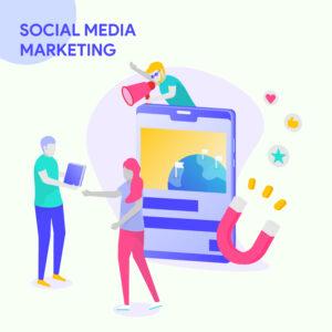 illustration for business solutions, start up, SOCIAL MEDIA MARKETING. Modern vector illustration concepts for website and mobile website development